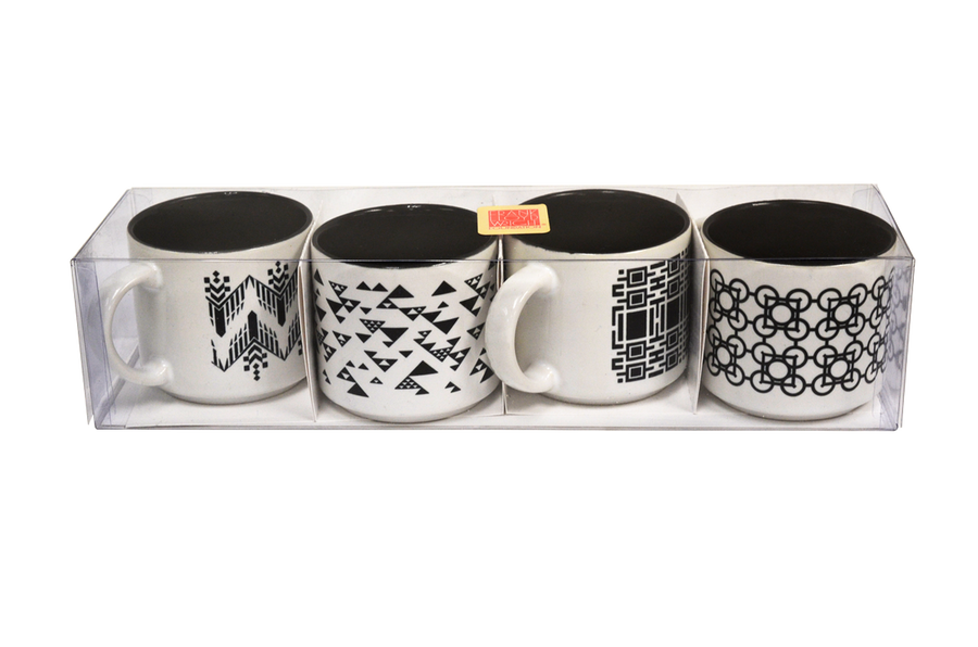 Black & White Espresso Cup Set, four cups in acrylic box