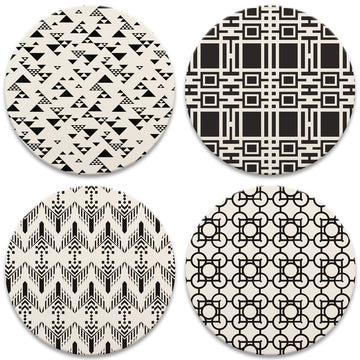 Black and White Patterns Coasters, tops of four in  set