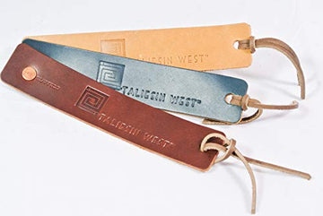 Taliesin West Leather Bookmark, shown in Saddle, Ocean, and Buckskin.