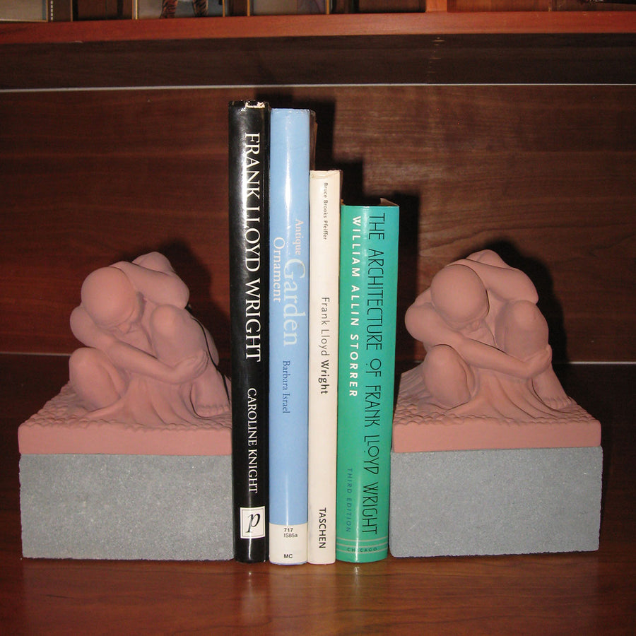 Boulder Bookends (Pair) shown with books in between.