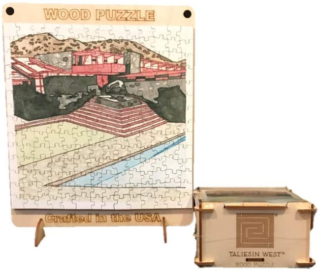 Taliesin West Wood Puzzle, completed puzzle shown with side of puzzle box.