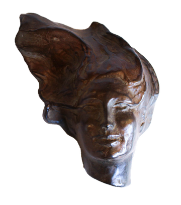 Woman Portrait Brown Shelf Sculpture by Heloise Crista.