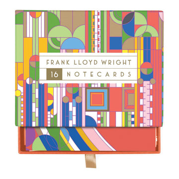 Frank Lloyd Wright Designs Notecard Boxed Set, box top with drawer slightly open