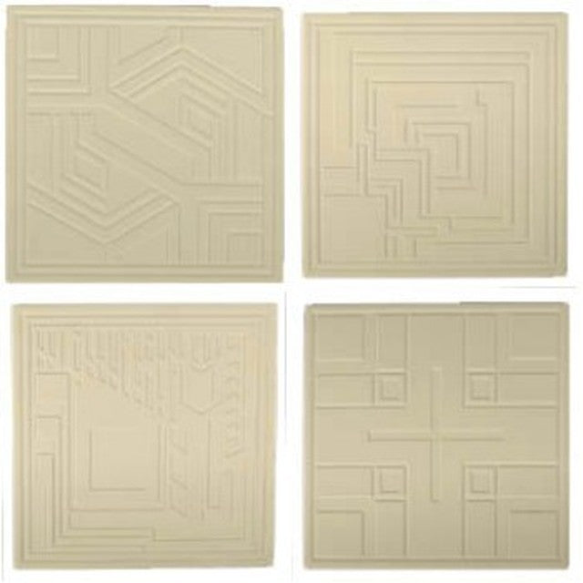 Textile Block Embossed Square Coasters, Set of 4