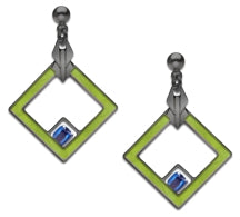 May House Earrings, spring green enamel with sapphire blue beads