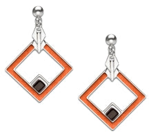 May House Earrings, rust orange enamel with black beads