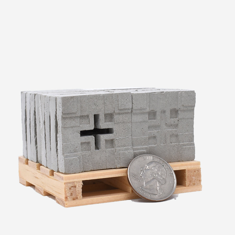Millard House Blocks set, showing blocks and pallet with a U.S. quarter for size comparison.