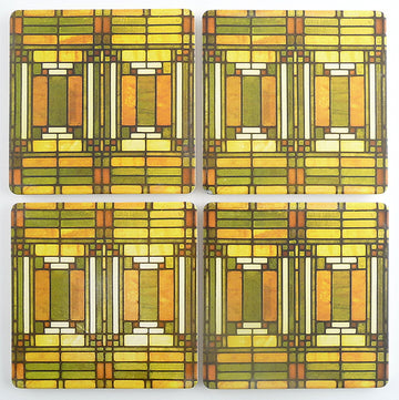 Oak Park Skylight Coasters, tops of four in set
