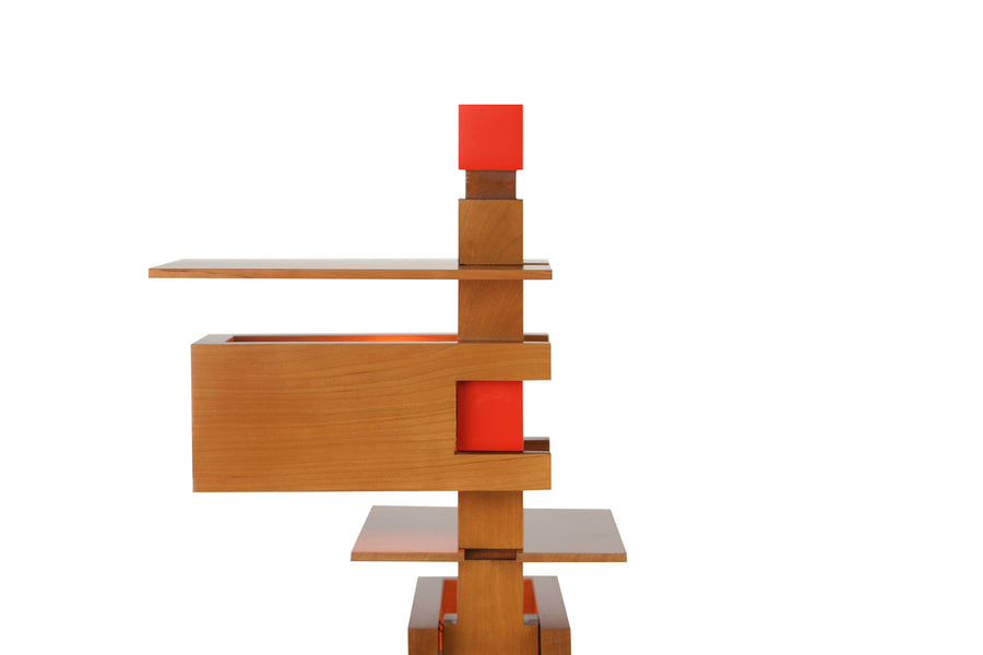 Taliesin 3 Table Lamp, close up of top, cherry stain