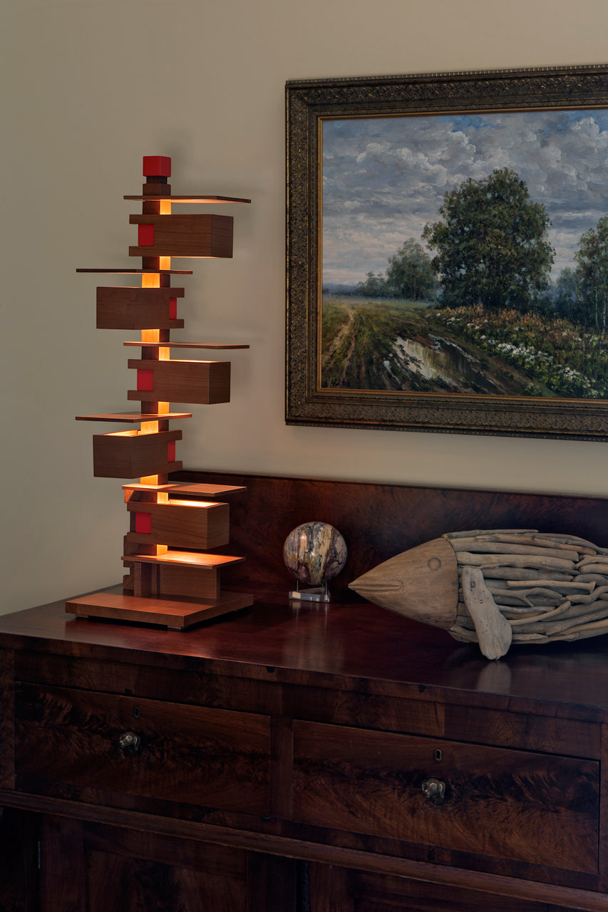 Taliesin 3 Lamp, cherry stain, in home setting