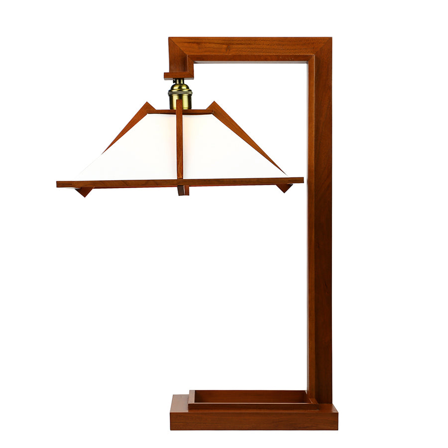 Taliesin Table Lamp from side, cherry stain