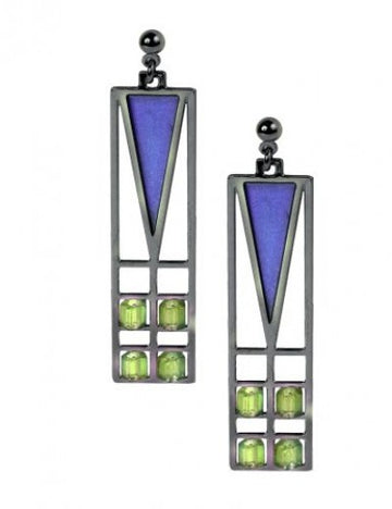 Frank Thomas House Light Screen Earrings, blue enamel accent with green beads