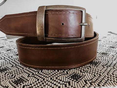 Hand Dyed Genuine Leather Men's Belt