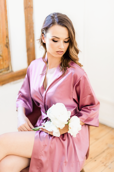 Pajama Party - Plain Silk with Lace Trim Robe