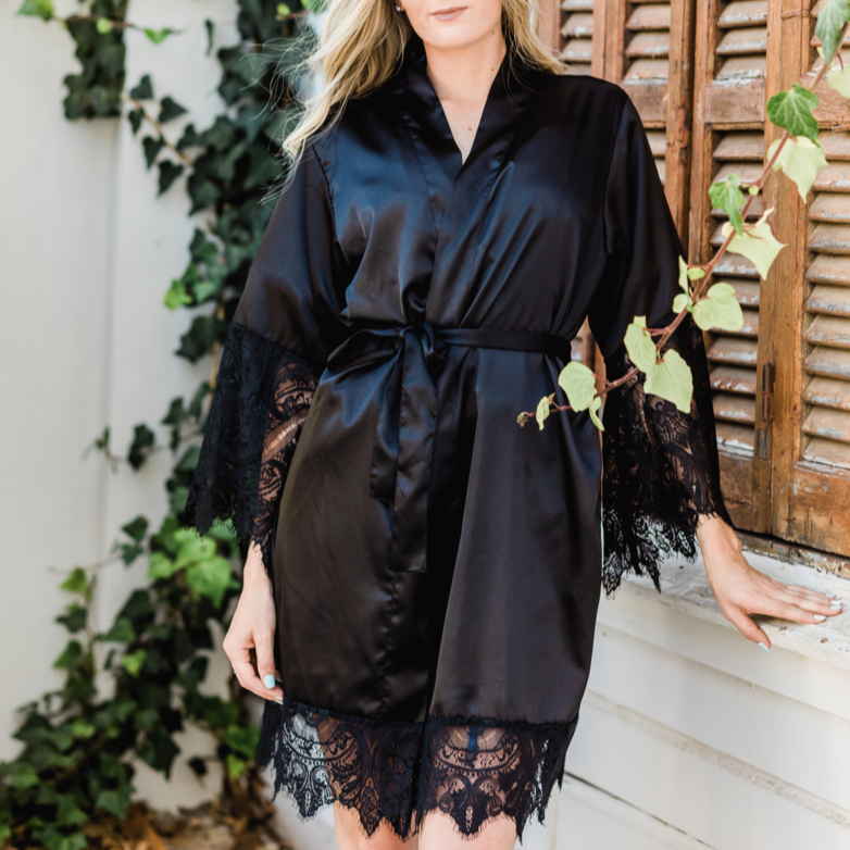 Pajama Party - Black Onyx Lace Robe