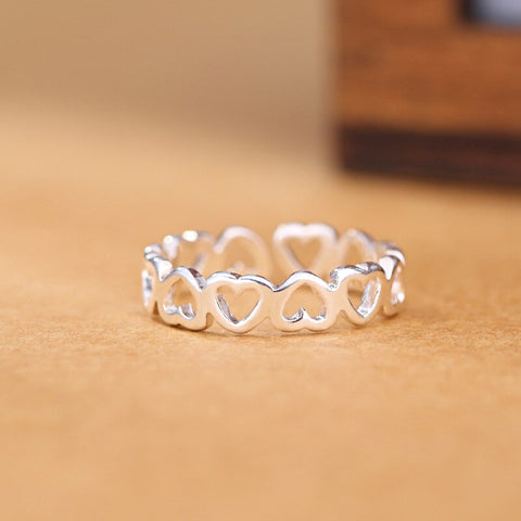Beyond Jewellery - 925 Sterling Silver Hollow Heart Ring