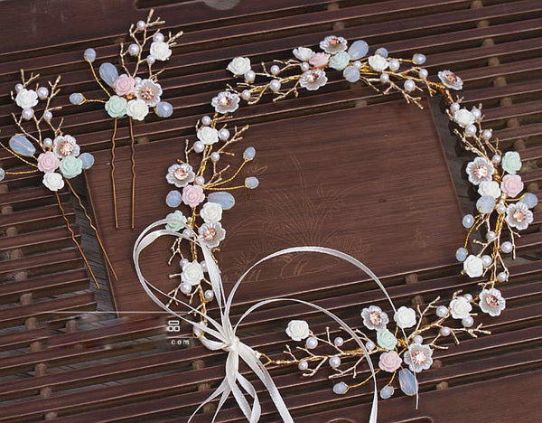 "Forever Sweet - ""Mia"" Ceramic Flower Headband & Hairpins Set"