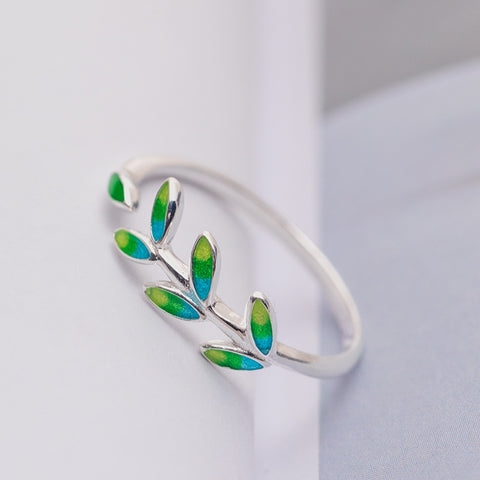 Silver Simple Leaf / Tree Design Ring
