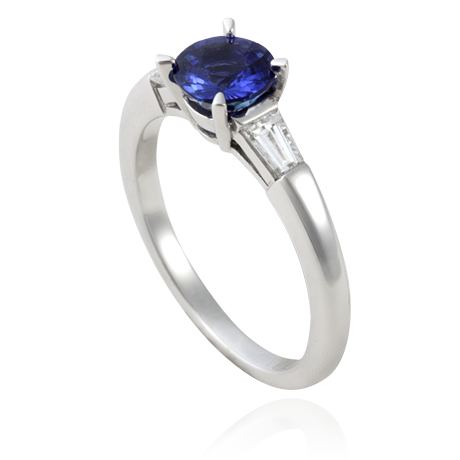 18ct White Gold Blue Sapphire and Tapered Baguette Diamond Ring