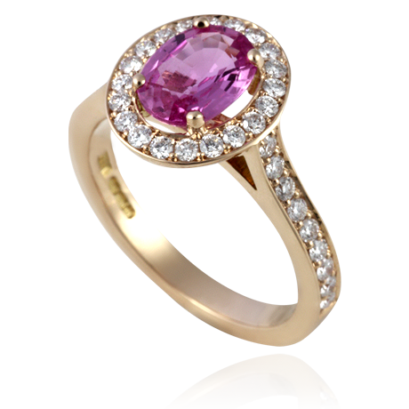 Pink Sapphire Ring set with Diamonds in Rose Gold