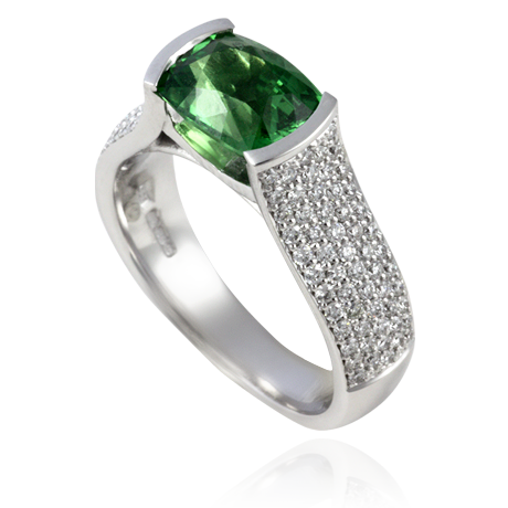 18ct white gold ring with Tsavorite Garnet and Diamond Shank