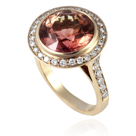 18ct Rose Gold Ring set with a round pink-orange Tourmaline and Diamonds