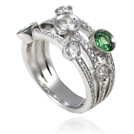 18ct White Gold Multi-stone Tsavorite Garnet And Diamond Ring