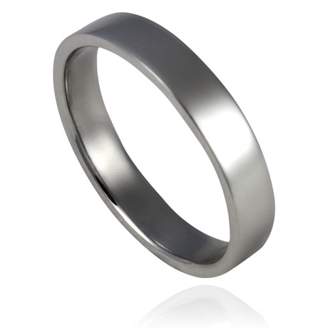 4mm Platinum Flat Profile Wedding Band