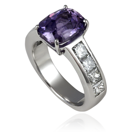 18ct White Gold ring with Purple Sapphire & Princess Cut Diamonds