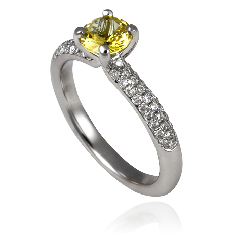 18ct White Gold Round Yellow Sapphire and Diamond Pavé ring