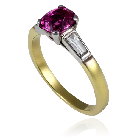 18ct White and yellow gold Cushion Cut Pink Sapphire and tapered baguette ring