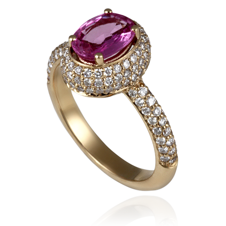 18ct Rose Gold Pink Sapphire and Diamond ball cluster ring
