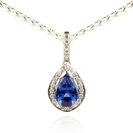 6a91c161a An 18ct white gold Blue Sapphire and Diamond pendant | Topset Jewellery