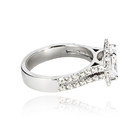 18ct White Gold Cluster & Double Row Ring