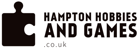Hampton hobbies and Games logo, has a jigsaw puzzle piece in the image