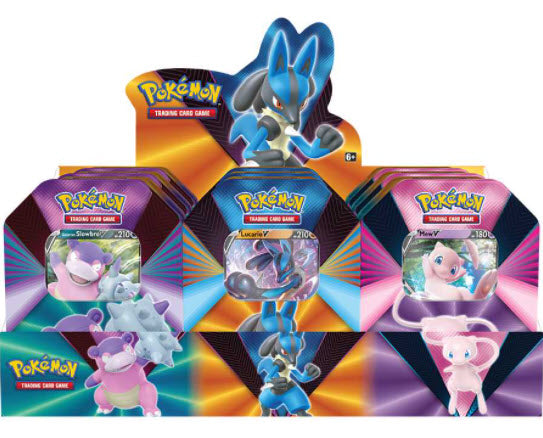 Pokémon TCG: V Forces Tin - Lucario V, Galarian Slowbro V or Mew V CASE