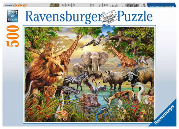 Animals At The Watering Hole 500 Piece Puzzle By Ravensburger