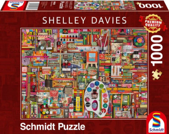 **NEW** Shelly Davies Vintage Art Supplies 1000 Piece Puzzle by Schmidt