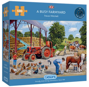 A Busy Farmyard by Trevor Mitchell 500 Piece Puzzle By Gibsons