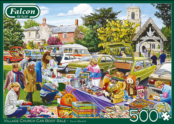 Village Church Car Boot Sale by Trevor Mitchell 500 Piece Puzzle by Falcon