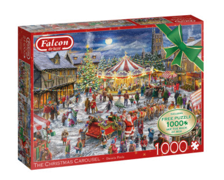 2X The Christmas Carousel 1000 Piece Puzzle + Additional Free 1000 Piece Puzzle by Falcon De Luxe