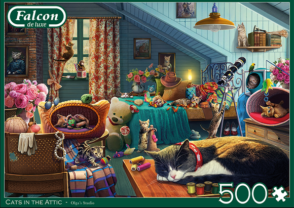 Cats In The Attic 500 Piece Puzzle by Falcon
