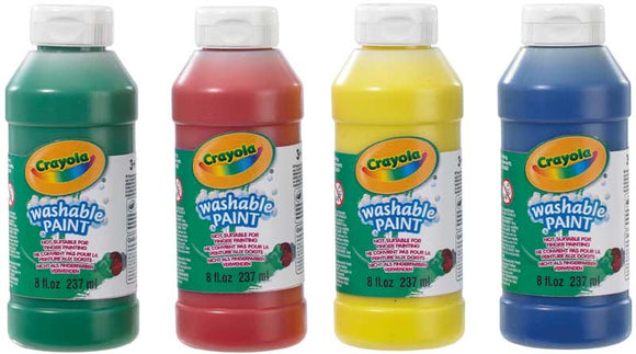 CRAYOLA WASHABLE READY MIX PAINT 4 PACK 237ml BOTTLES