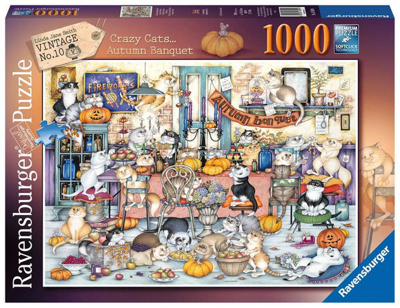 Crazy Cats Autumn Banquet 1000 Piece Puzzle by Ravensburger