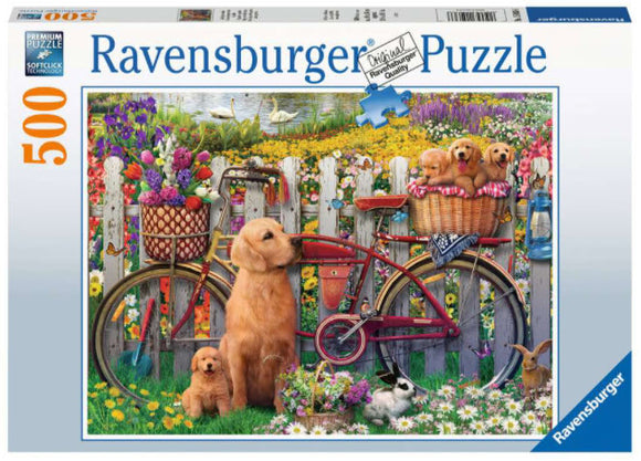 Cute Dogs In The Garden 500 Piece Puzzle by Ravensburger