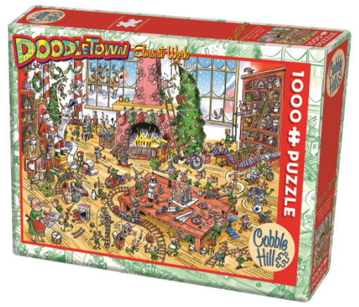 DoodleTown: Elves At Work 1000 Piece Puzzle By Cobble Hill Puzzles