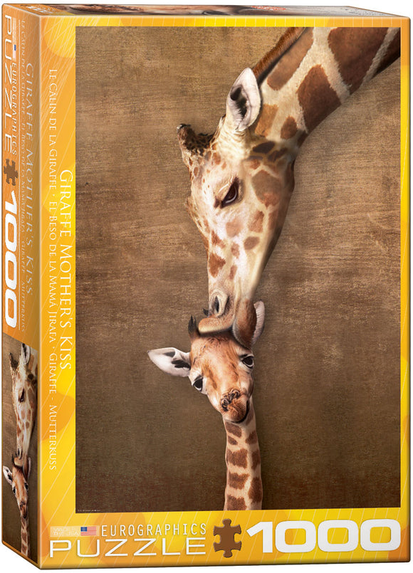 Giraffe Mother's Kiss 1000 Piece Puzzle by Eurographics