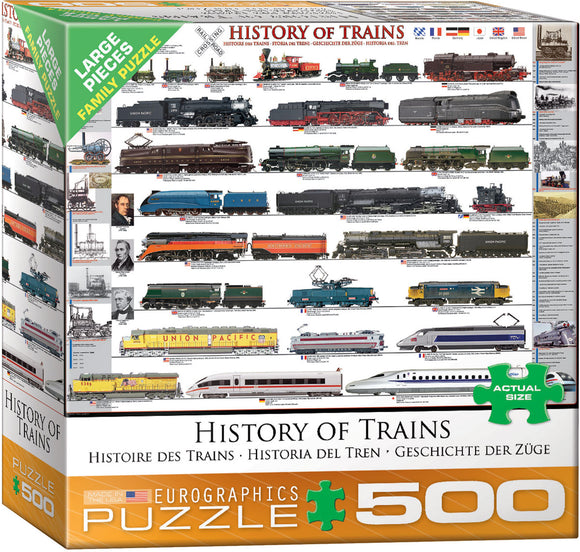 History of Trains 500 Piece Puzzle by Eurographics