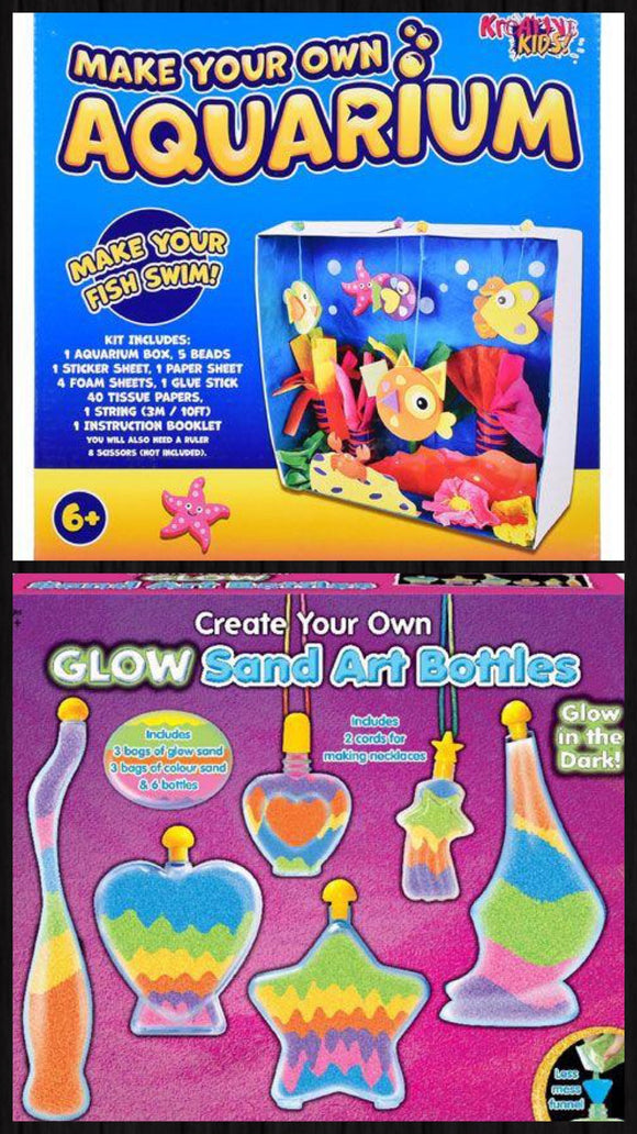 2X Craft Kits Childrens Craft Activity Bundle-Make An Aquarium and Sand Bottle Kit