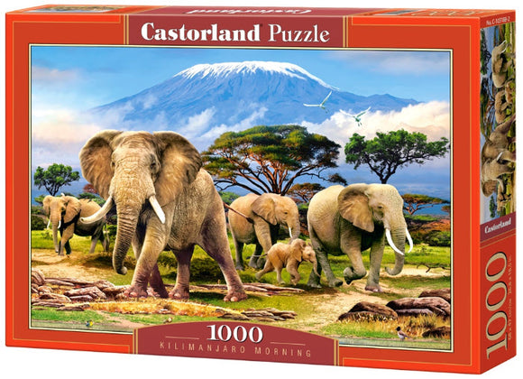 Kilimanjaro Morning Wild Elephants 1000 Piece Jigsaw Puzzle by Castorland